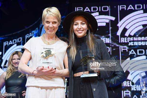 Cordula Stratmann and Namika poses during the Radio Regenbogen Award 2016 After Show Party on April 22 2016 in Rust Germany