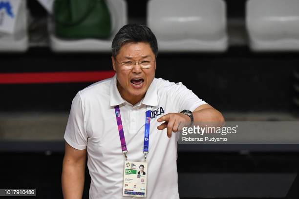 Corean coach Lee Moonkyu reacts during the Women's Basketball Preliminary round between Unified Corea and Chinese Taipei in the Asian Games 2018 at...