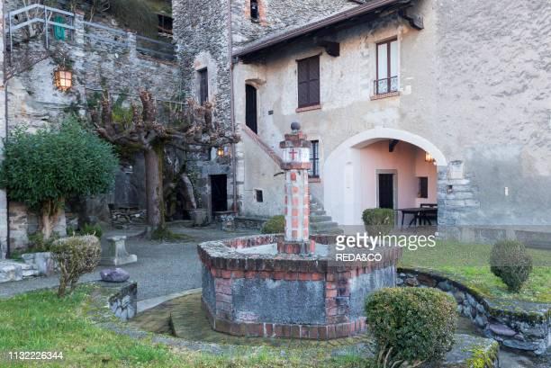 Corenno Plinio old traditional house courtyard Como Lake Lombardy Italy Europe