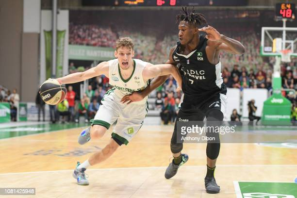 Corentin Carne of Nanterre and Alpha Kaba of Asvel during the Jeep Elite match between Nanterre and Lyon Villeurbanne on January 12 2019 in Nanterre...