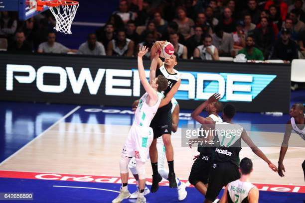 Corentin Carne of Pau Orthez and Amine Noua of Lyon Villeurbanne during of the Leaders Cup Semi Final match between Lyon Villeurbanne and Pau Orthez...