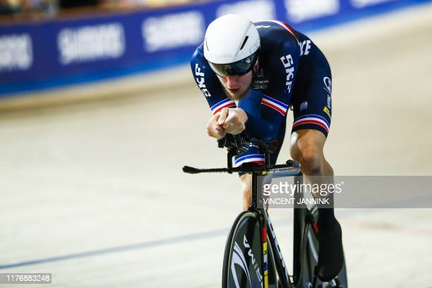 Corentin Ermenault of France competes during the final individual pursuit during the European Track Cycling Championships in Omnisport, Apeldoorn,...