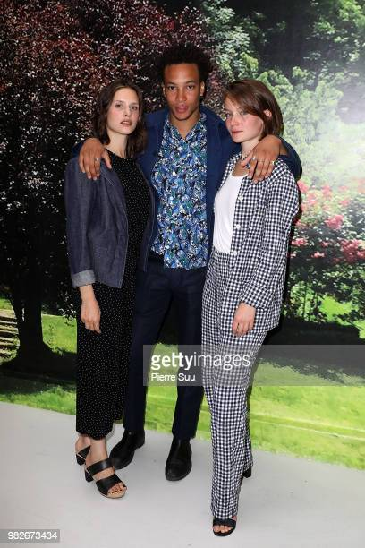 Corentin Fila and Daphne Patakia and Diane Rouxel attend the Agnes B Menswear Spring/Summer 2019 show as part of Paris Fashion Week on June 24 2018...