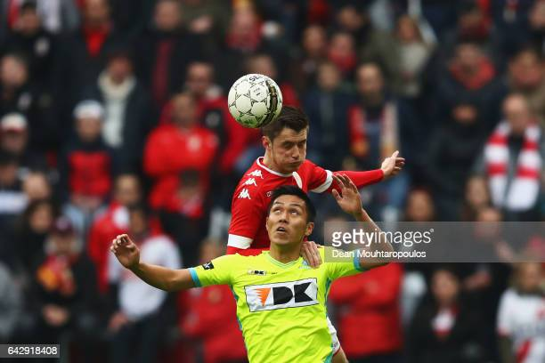 Corentin Fiore of Standard Liege battles for the ball with Yuya Kubo of KAA Gent during the Belgian Jupiler Pro League match between Royal Standard...