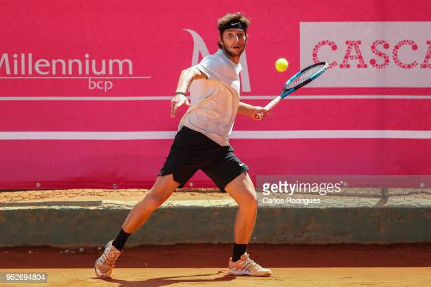 Corentin Moutet from France in action during the match between Corentin Moutet and Salvatore Caruso for Millennium Estoril Open 2018 Qualify Round 01...