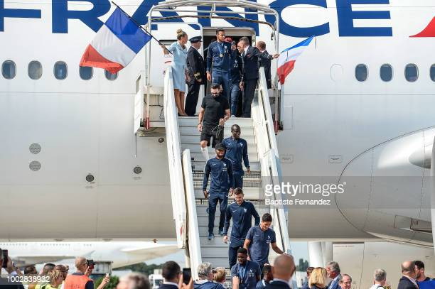 Corentin Tolisso Adil Rami Ngolo Kante Thomas Lemar Lucas Hernandez and Raphael Varane of France during the arrival at Airport Roissy Charles de...
