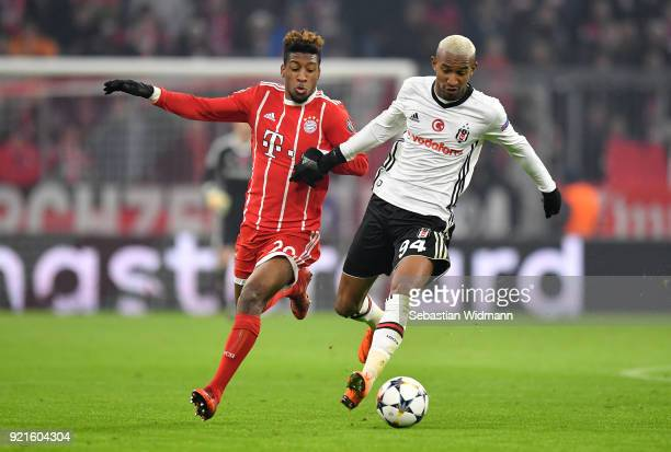 Corentin Tolisso of Bayern Muenchen and Anderson Talisca of Besiktas in action during the UEFA Champions League Round of 16 First Leg match between...
