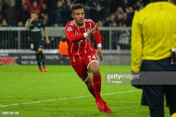 Corentin Tolisso of Bayern Muenchen celebrates after scoring a goal during the UEFA Champions League group B match between Bayern Muenchen and Paris...