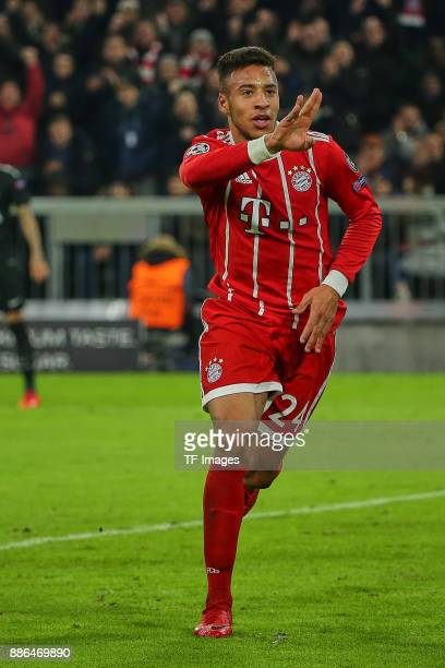 Corentin Tolisso of Bayern Muenchen celebrates after scoring his team`s second goal during the UEFA Champions League group B match between Bayern...