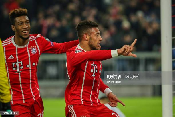Corentin Tolisso of Bayern Muenchen celebrates after scoring his team`s second goal with Kingsley Coman of Bayern Muenchen during the UEFA Champions...