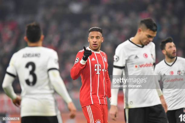 Corentin Tolisso of Bayern Muenchen gestures during the UEFA Champions League Round of 16 First Leg match between Bayern Muenchen and Besiktas at...