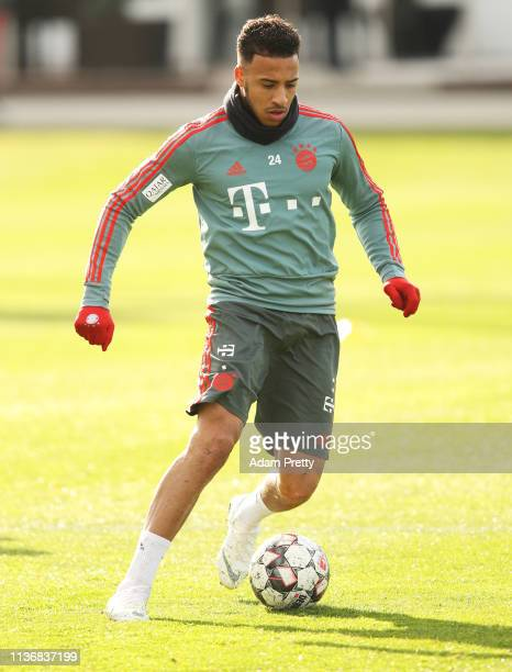 Corentin Tolisso of Bayern Muenchen in action during Bayern Muenchen training at Saebener Strasse training ground on March 19, 2019 in Munich,...