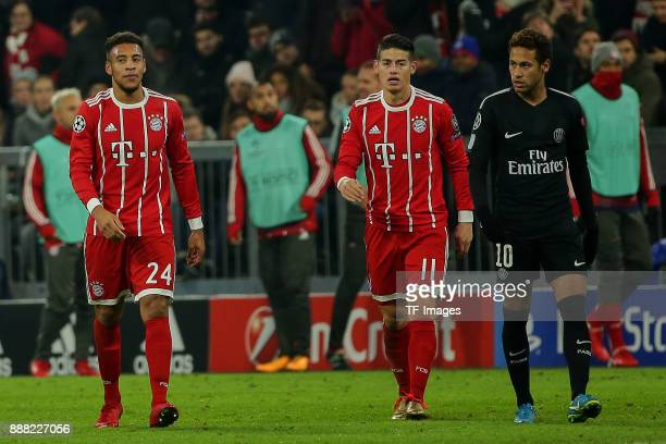 Corentin Tolisso of Bayern Muenchen James Rodriguez of Bayern Muenchen looks on and Neymar of Paris SaintGermain looks dejected during the UEFA...