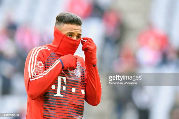 Corentin Tolisso of Bayern Muenchen looks on prior to the Bundesliga match between FC Bayern Muenchen and SV Werder Bremen at Allianz Arena on...