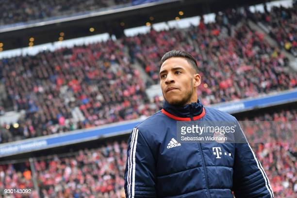 Corentin Tolisso of Bayern Muenchen looks on prior to the Bundesliga match between FC Bayern Muenchen and Hamburger SV at Allianz Arena on March 10...