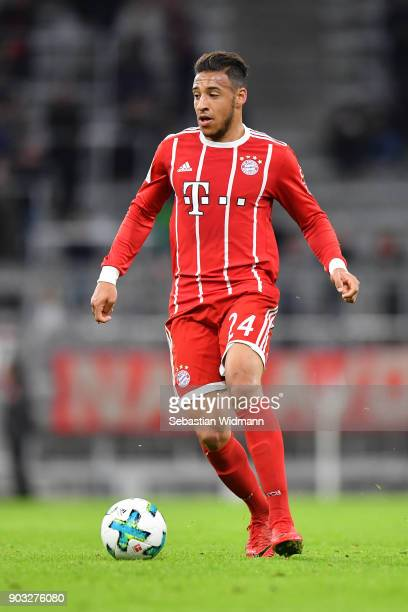 Corentin Tolisso of Bayern Muenchen plays the ball during the friendly match between Bayern Muenchen and SG Sonnenhof Grossaspach at Allianz Arena on...