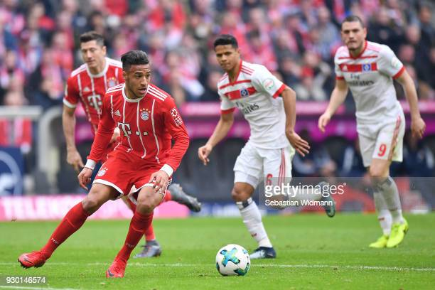 Corentin Tolisso of Bayern Muenchen plays the ball during the Bundesliga match between FC Bayern Muenchen and Hamburger SV at Allianz Arena on March...