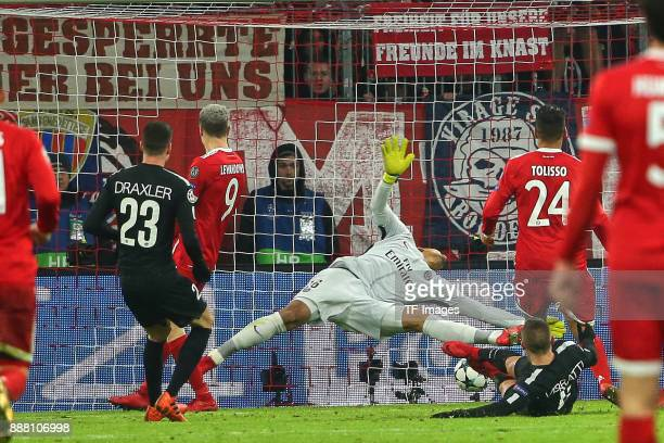Corentin Tolisso of Bayern Muenchen scores the team`s third goal during the UEFA Champions League group B match between Bayern Muenchen and Paris...