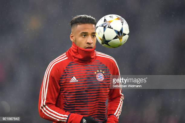 Corentin Tolisso of Bayern Muenchen warms up ahead of the UEFA Champions League Round of 16 First Leg match between Bayern Muenchen and Besiktas at...