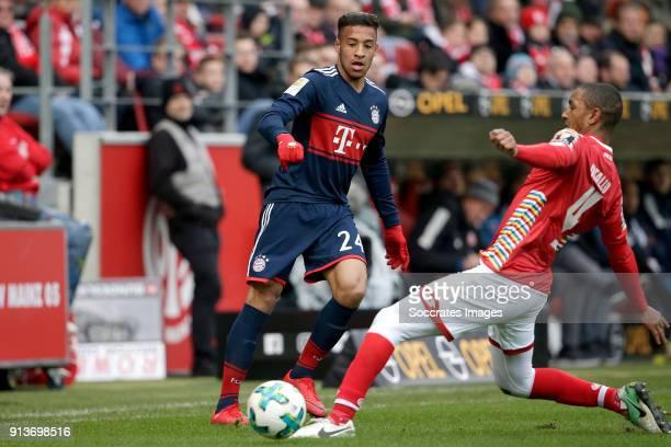 Corentin Tolisso of Bayern Munchen Abdou Diallo of FSV Mainz during the German Bundesliga match between FSV Mainz v Bayern Munchen at the Opel Arena...