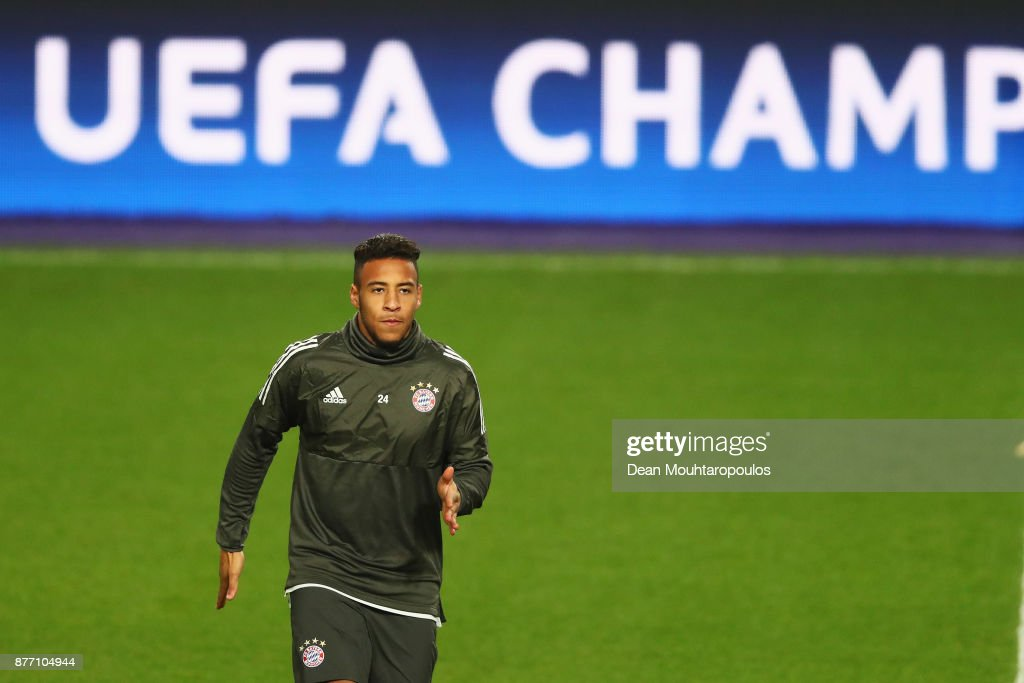 Corentin Tolisso of Bayern Munich is pictured during the Bayern Muenchen Training session held at the Constant Vanden Stock Stadium on November 21, 2017 in Brussels, Belgium. R.S.C. Anderlecht will play Bayern Munich in their Group B, Champions League match on the 22nd of November, 2017.