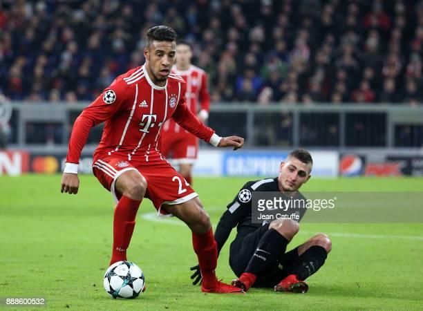 Corentin Tolisso of Bayern Munich Marco Verratti of PSG during the UEFA Champions League group B match between Bayern Muenchen and Paris SaintGermain...