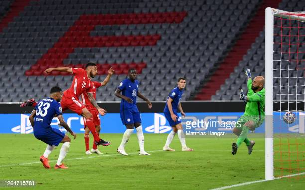 Corentin Tolisso of Bayern Munich scores his sides third goal during the UEFA Champions League round of 16 second leg match between FC Bayern...