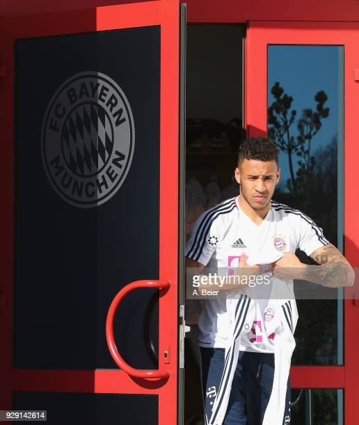Corentin Tolisso of FC Bayern Muenchen arrives for a training session at the club's Saebener Strasse training ground on March 8 2018 in Munich Germany