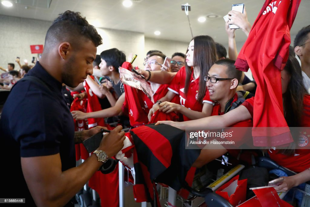 Corentin Tolisso of FC Bayern Muenchen arrives with the team at Shanghai Pudong International Airport for the Audi Summer Tour 2017 on July 17, 2017 in Shanghai, China.