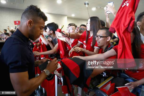 Corentin Tolisso of FC Bayern Muenchen arrives with the team at Shanghai Pudong International Airport for the Audi Summer Tour 2017 on July 17 2017...