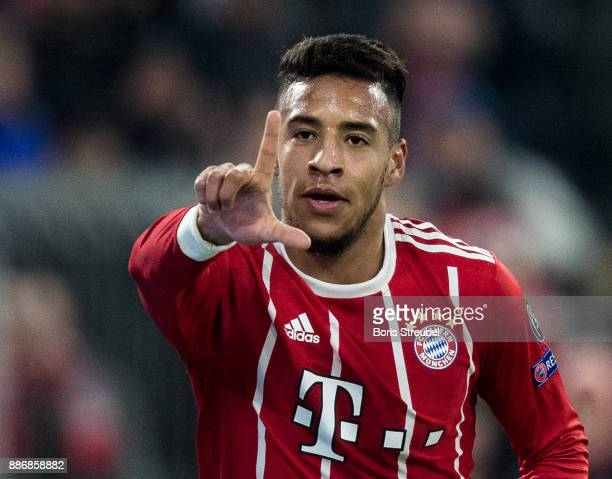 Corentin Tolisso of FC Bayern Muenchen celebrates after scoring his team's second goal during the UEFA Champions League group B match between Bayern...