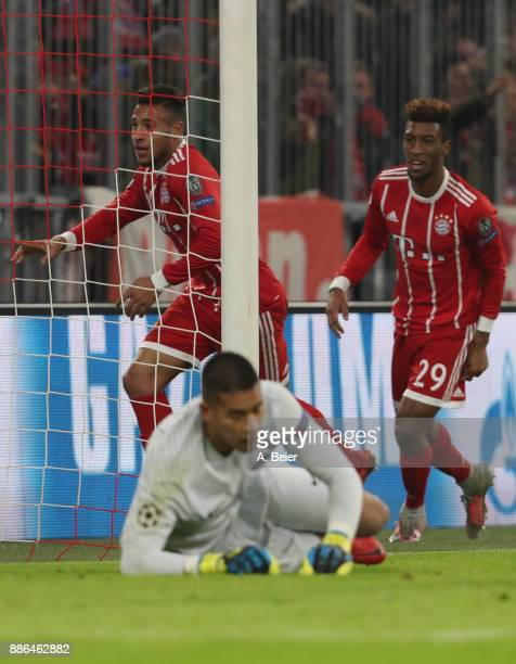 Corentin Tolisso of FC Bayern Muenchen celebrates his 20 goal against goalkeeper Alphonse Areola of Paris SaintGermain during the UEFA Champions...