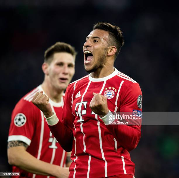 Corentin Tolisso of FC Bayern Muenchen celebrates with team mates after scoring his team's second goal during the UEFA Champions League group B match...