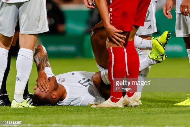 Corentin Tolisso of FC Bayern Muenchen on the ground during the DFB Cup first round match between Energie Cottbus and FC Bayern Muenchen at Stadion...