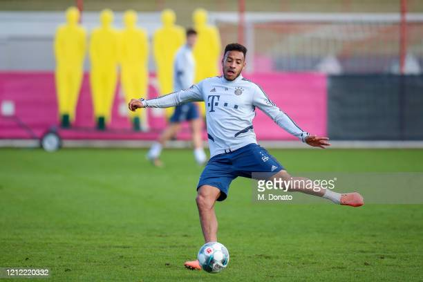 Corentin Tolisso of FC Bayern Muenchen plays the ball during a training session at Saebener Strasse training ground on March 13 2020 in Munich Germany