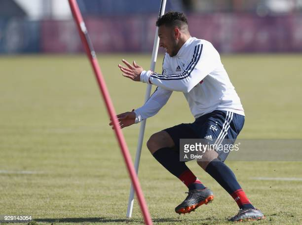 Corentin Tolisso of FC Bayern Muenchen practises during a training session at the club's Saebener Strasse training ground on March 8 2018 in Munich...