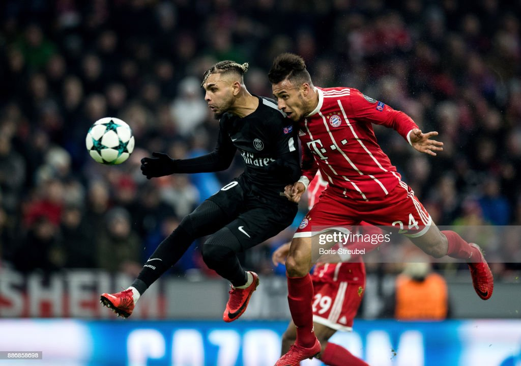 Corentin Tolisso of FC Bayern Muenchen scores his team's second goal with a header during the UEFA Champions League group B match between Bayern Muenchen and Paris Saint-Germain at Allianz Arena on December 5, 2017 in Munich, Germany.