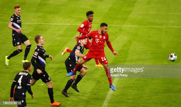 Corentin Tolisso of FC Bayern Muenchen scores their team's second goal during the Bundesliga match between FC Bayern Muenchen and DSC Arminia...