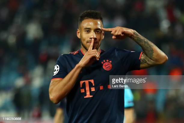 Corentin Tolisso of FC Bayern Munich celebrates after scoring his team's sixth goal during the UEFA Champions League group B match between Crvena...