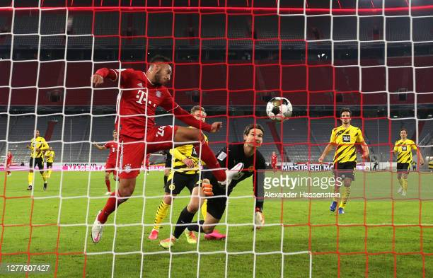 Corentin Tolisso of FC Bayern Munich scores his sides first goal during the Supercup 2020 match between FC Bayern Muenchen and Borussia Dortmund at...