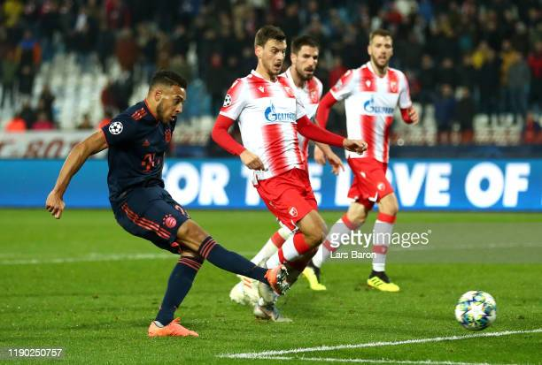 Corentin Tolisso of FC Bayern Munich scores his team's sixth goal during the UEFA Champions League group B match between Crvena Zvezda and Bayern...