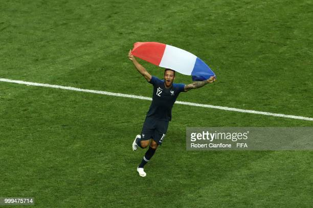 Corentin Tolisso of France celebrates following his sides victory in the 2018 FIFA World Cup Final between France and Croatia at Luzhniki Stadium on...