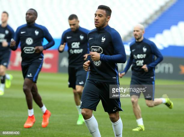 Corentin Tolisso of France during the training session on the eve of the international friendly match between France and Spain at Stade de France on...
