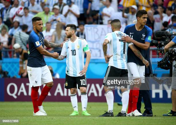 Corentin Tolisso of France greets Lionel Messi of Argentina Raphael Varane of France Ever Banega of Argentina following the 2018 FIFA World Cup...