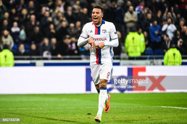 Corentin Tolisso of Lyon celebrates his goal during the Uefa Europa League Round of 16 first leg match between Olympique Lyonnais Lyon and As Roma at...
