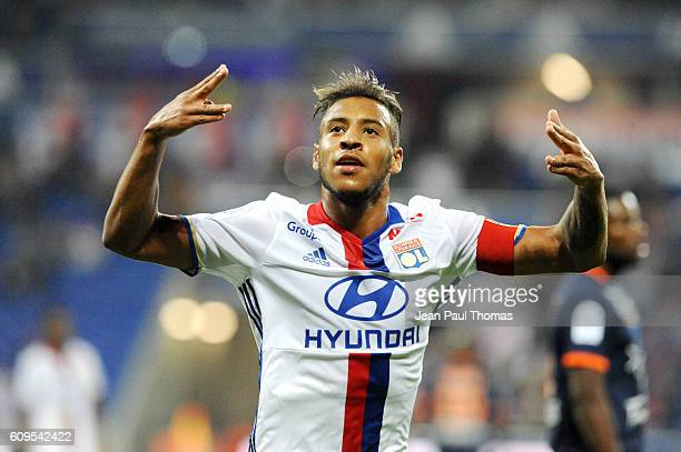 Corentin TOLISSO of lyon celebrates scoring his goal during the Ligue 1 match between Olympique Lyonnais and Montpellier Herault at Stade des...