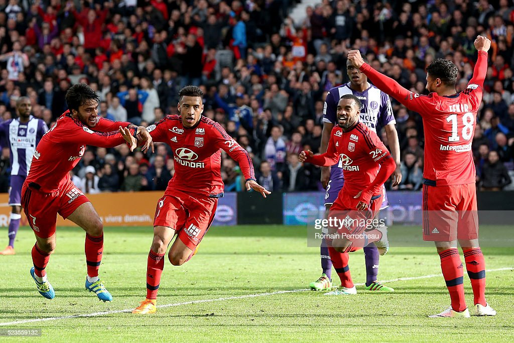 Corentin Tolisso (c) of Lyon reacts after scoring (3-2) during the French Ligue 1 match between Toulouse and Lyon at Stadium Municipal on April 23, 2016 in Toulouse, France.