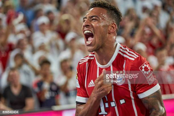 Corentin Tolisso of Muenchen celebrates after scoring his team`s first goal during the Bundesliga match between FC Bayern Muenchen and Bayer 04...