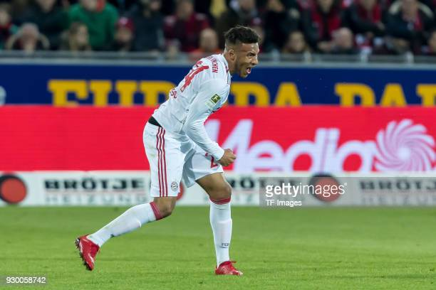 Corentin Tolisso of Muenchen celebrates after scoring his team`s second goal during the Bundesliga match between SportClub Freiburg and FC Bayern...