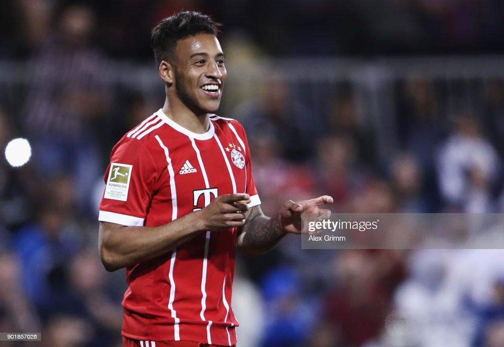 Corentin Tolisso of Muenchen celebrates his team's second goal during the friendly match between Al-Ahli and Bayern Muenchen on day 5 of the FC Bayern Muenchen training camp at ASPIRE Academy for Sports Excellence on January 6, 2018 in Doha, Qatar.
